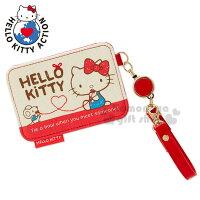 凱蒂貓週邊商品推薦到〔小禮堂〕Hello Kitty 伸縮票卡夾《米紅.紅線.弗蘭多.坐姿》附腕繩