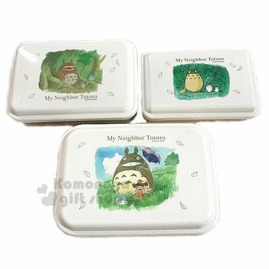〔小禮堂〕宮崎駿 Totoro 龍貓 日製保鮮盒組《3入.白.大地色盒.撐傘.妹妹》可堆疊收納