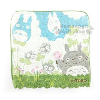 〔小禮堂〕宮崎駿 Totoro龍貓 純棉小方巾《綠.藍天.白雲.小煤炭.舉單手》