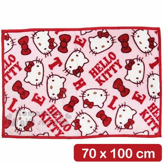 〔小禮堂〕Hello Kitty 隨身披肩毯《紅.字母.大臉.滿版》70x100cm