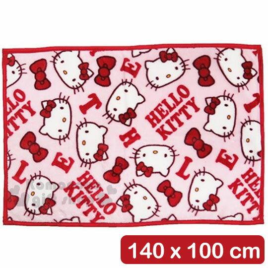 〔小禮堂〕Hello Kitty 隨身刷毛毯《紅.字母.大臉.滿版》140x100cm