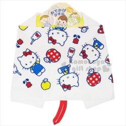 〔小禮堂〕Hello Kitty 純棉兒童擦手巾《白.蘋果.牛奶瓶》擦嘴巾.圍兜兜.可掛