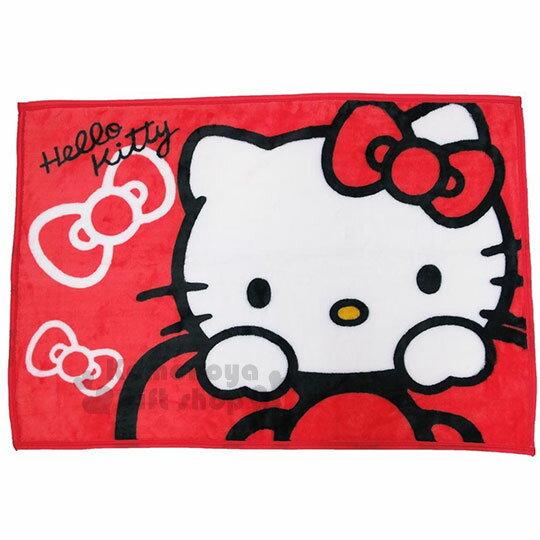 〔小禮堂〕Hello Kitty 隨身披肩毯《紅.趴蝴蝶結.大臉》70x100cm