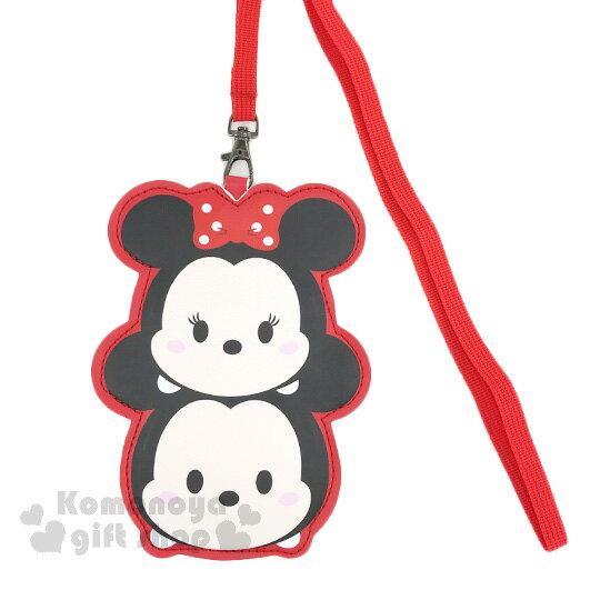 〔小禮堂〕迪士尼 Tsum Tsum 米奇米妮 造型皮質票卡夾《紅.疊疊樂》附腕繩