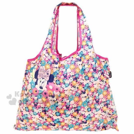 〔小禮堂〕迪士尼 米妮 折疊式環保 袋~M.桃藍.大臉.繽紛花朵~