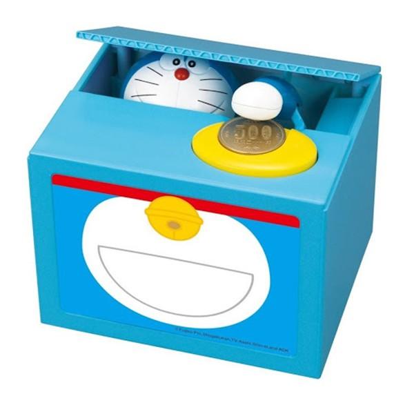〔小禮堂〕哆啦A夢偷錢箱存錢筒《藍盒裝.百寶袋》金銀財寶滾滾來