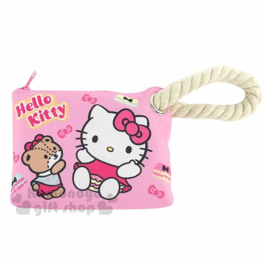 <br/><br/>  〔小禮堂〕Hello Kitty 帆布拉鍊筆袋《L.粉.粉洋裝.小熊翹屁股》麻繩裝飾<br/><br/>