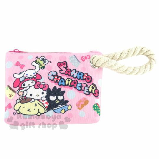 〔小禮堂〕Sanrio大集合 帆布拉鍊筆袋~L.粉.多角色堆疊~麻繩裝飾