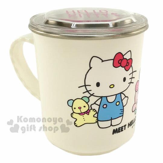 〔小禮堂〕Hello Kitty 附蓋不鏽鋼杯《白.姊妹.小熊.300ml》隔熱不易燙傷
