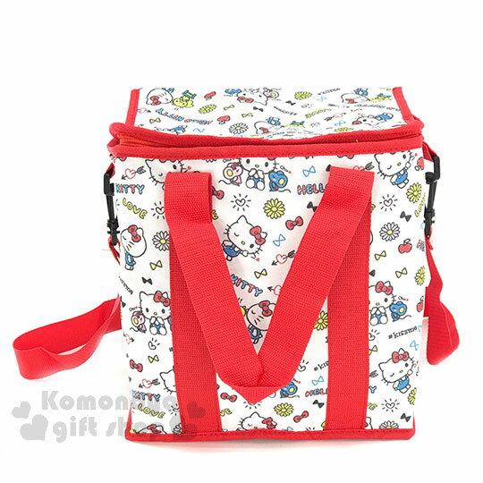 〔小禮堂〕Hello Kitty  折疊式手提保冷袋《15L.白紅.滿版.小老鼠松鼠》保溫.保冷皆可 0