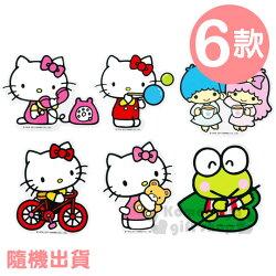 〔小禮堂〕Sanrio 防水裝飾貼紙《透明.6款隨機出貨.Kitty.雙子星.大眼蛙》