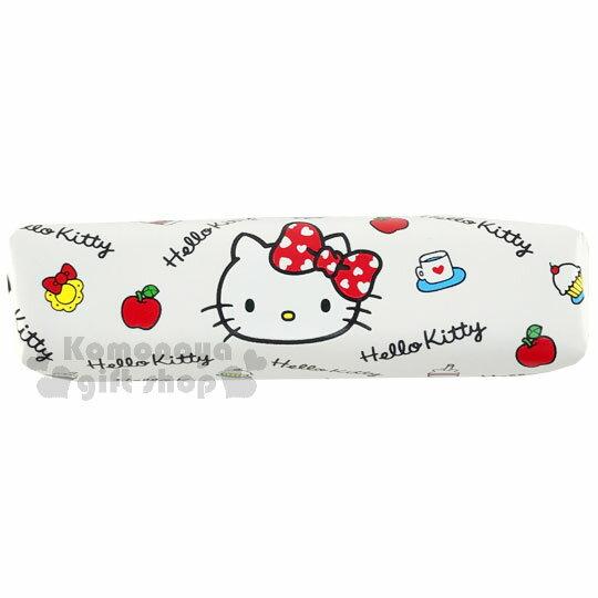 〔小禮堂〕Hello Kitty 皮質拉鍊筆袋《白.大臉.蘋果.牛奶.蛋糕.滿版》