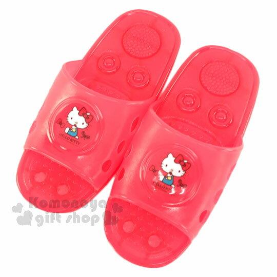 〔小禮堂〕Hello Kitty 浴室拖鞋《桃紅.側坐.紅蝴蝶結》成人尺寸
