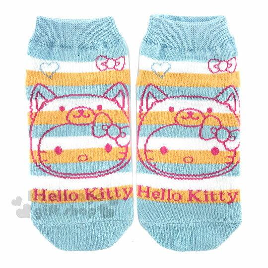 〔小禮堂〕Hello Kitty 成人船型襪~藍白橘條紋.大臉.變裝柴犬~2018狗年旺旺