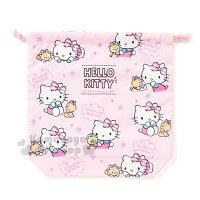 凱蒂貓週邊商品推薦到〔小禮堂〕Hello Kitty 日製束口袋《粉.小熊.多圖》