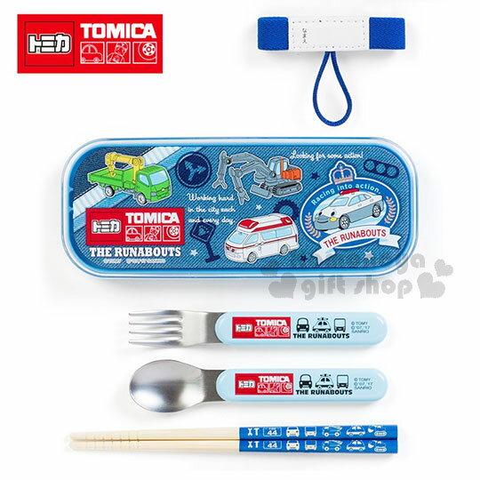 〔小禮堂〕TOMICA小汽車 日製餐具組《藍牛仔布.滿版汽車》附束帶