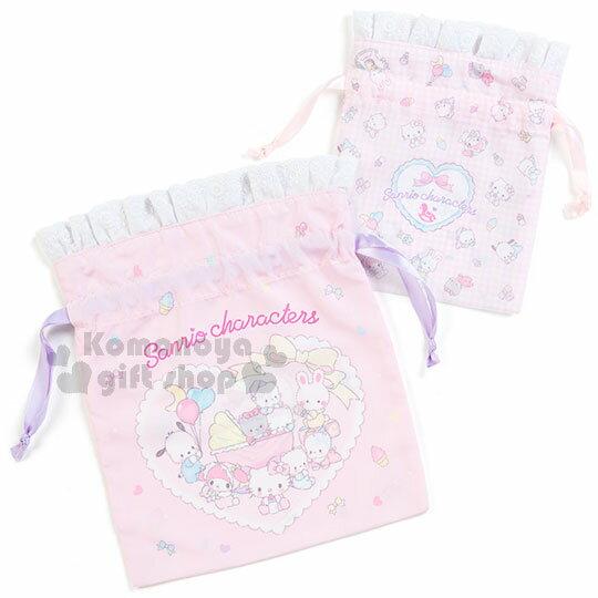 〔小禮堂〕Sanrio棉質束口袋《2入.粉紫.蕾絲.嬰兒.多角色》純真無瑕系列