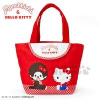 凱蒂貓週邊商品推薦到〔小禮堂〕Hello Kitty x Monchhichi 帆布便當提袋《紅.對坐.格紋》