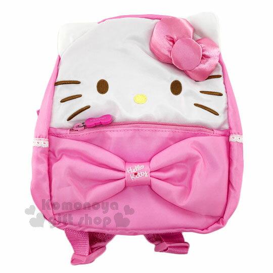 〔小禮堂﹞Hello Kitty 兒童後背包《S.粉白.大臉造型.緞面蝴蝶結》適合3-5歲兒童