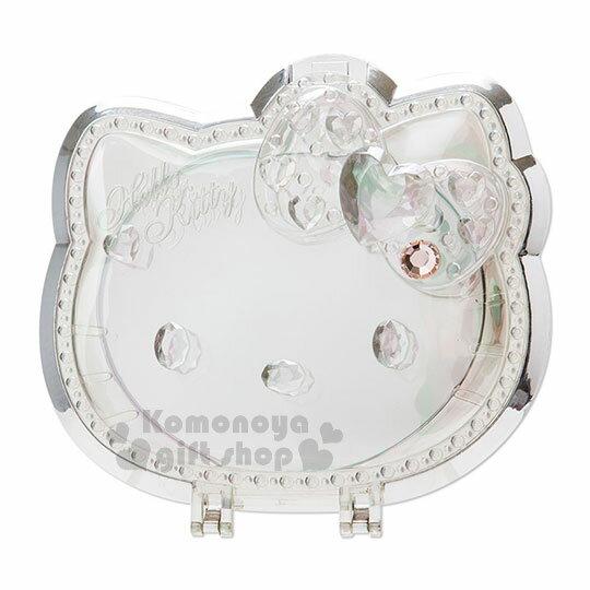 〔小禮堂〕Hello Kitty 造型鏡子《銀.大臉》可手拿.折疊桌用