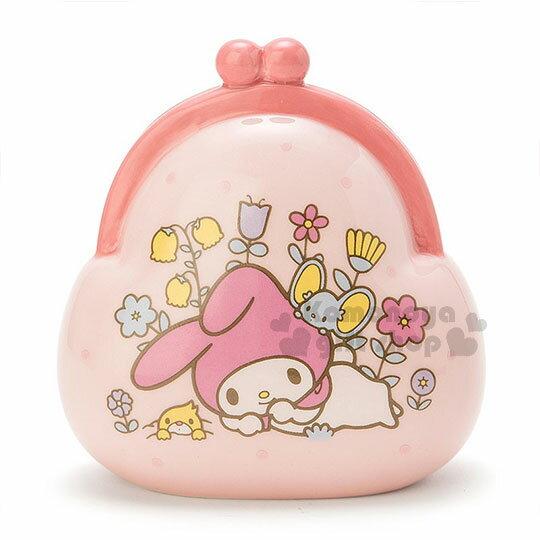 〔小禮堂〕美樂蒂 陶瓷造型存錢筒《粉.趴.睡覺.花.錢包》可當擺飾品