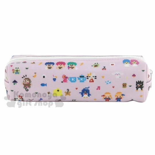 〔小禮堂﹞Sanrio大集合 防水拉鍊筆袋《粉.多角色.積木人形.細長型》