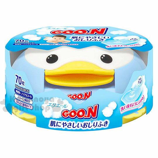 〔小禮堂〕日本大王 日製嬰兒濕紙巾盒《藍.企鵝》內附70抽純水濕紙巾
