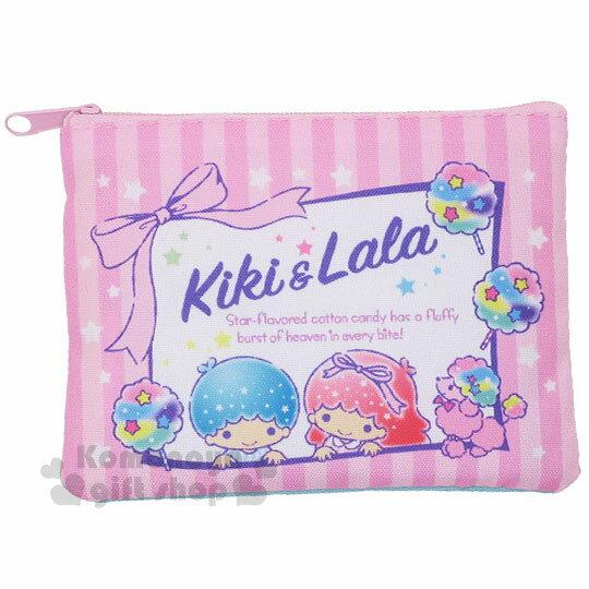 〔小禮堂〕 雙子星 帆布面紙零錢包《藍.粉條紋.星星.棉花糖》
