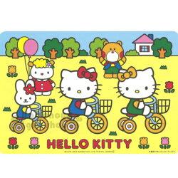 〔小禮堂〕Hello Kitty 日製紙餐墊《4入.黃.Kitty&Mimmy.腳踏車》銅板小物