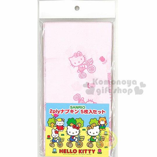 〔小禮堂〕Hello Kitty 日製餐巾紙《5入.粉.腳踏車》銅板小物