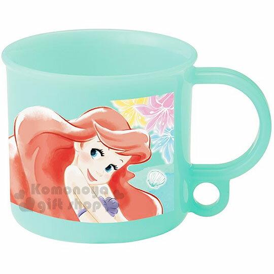 〔小禮堂〕迪士尼 小美人魚 日製塑膠小水杯《綠.水彩風.花朵.200ml》