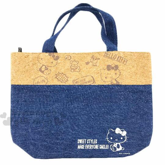 〔小禮堂〕Hello Kitty 牛仔布保冷手提便當袋《M.深藍.小熊》手提袋.野餐袋.外出袋
