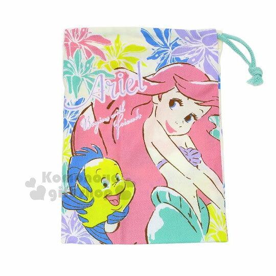 〔小禮堂〕迪士尼 小美人魚 日製棉質束口袋《白粉.海洋世界.賽巴斯汀》牙刷杯用