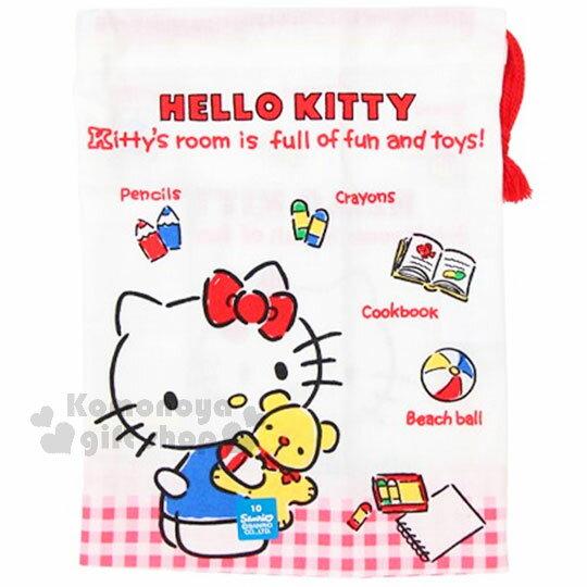 〔小禮堂〕Hello Kitty 日製棉質束口袋《紅白格.經典藍吊帶褲.小熊.玩具》牙刷杯用