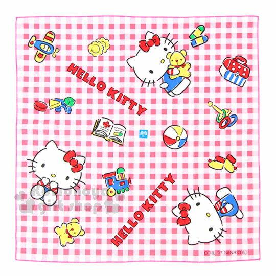 〔小禮堂〕Hello Kitty 日製便當包巾《紅白格.經典藍吊帶褲.小熊.玩具.43x43cm》純綿100%