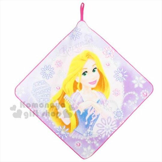 〔小禮堂〕迪士尼 魔髮奇緣 長髮公主 樂佩 純棉擦手巾《粉.梳髮.紫藍洋裝》超細纖維.吸水速乾