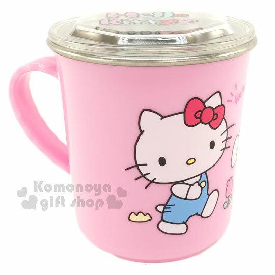 〔小禮堂〕Hello Kitty 附蓋不鏽鋼杯《粉.軌道.蛋糕屋.300ml》隔熱不易燙傷