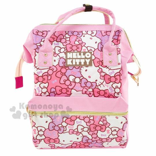 〔小禮堂~Hello Kitty 帆布拉鍊後背包~粉.滿版.臉.蝴蝶結~可提.減壓式背帶