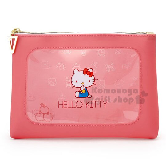 〔小禮堂〕Hello Kitty 果凍化妝包《桃粉.透明視窗.經典.藍吊帶褲》攜帶方便