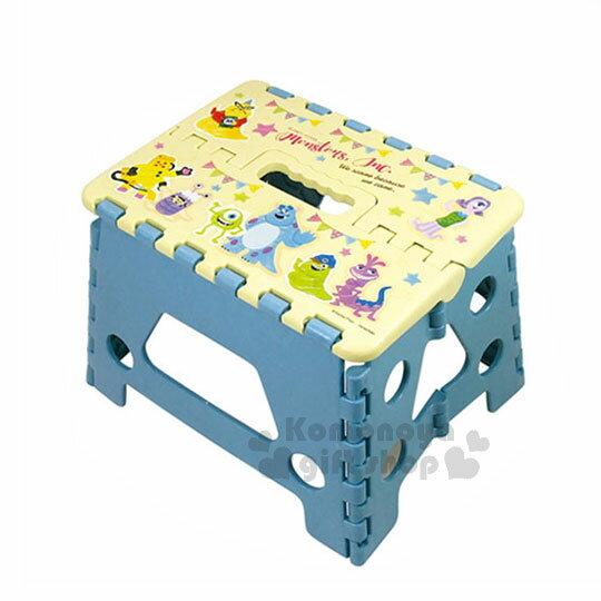 〔小禮堂〕迪士尼 怪獸大學 毛怪 大眼仔 攜帶式折疊椅《黃藍.派對》提把設計.方便攜帶 0