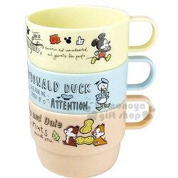 〔小禮堂〕迪士尼 米奇 唐老鴨 奇奇蒂蒂 塑膠小水杯組《黃藍棕.多角色.素描風.Q版.花生.3入.230ml》增添可愛氣氛