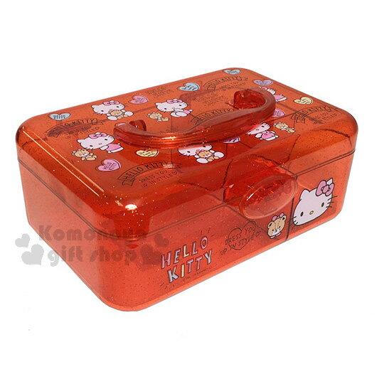 〔小禮堂〕Hello Kitty 壓克力收納提盒《透明.橘紅.小熊.粉吊帶褲.愛心》輕鬆美化空間