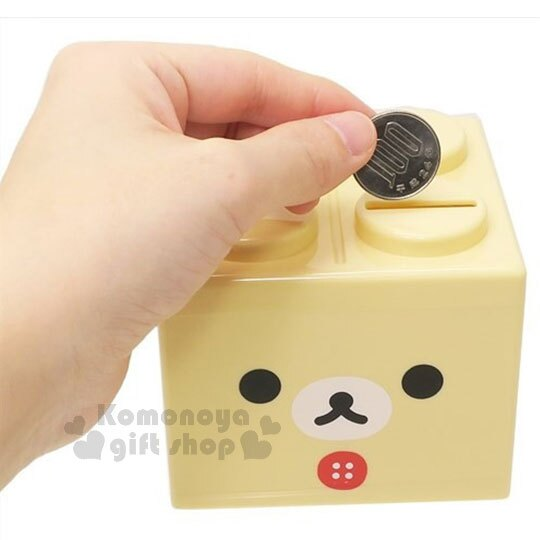 〔小禮堂〕拉拉熊 牛奶熊 積木造型存錢筒《米.大臉》可愛招財 1