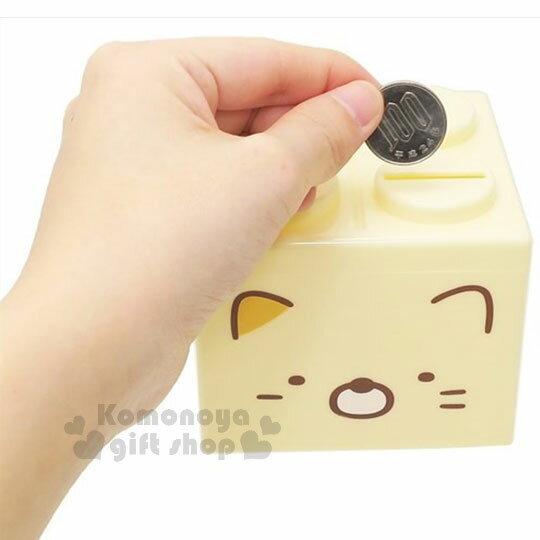 〔小禮堂〕角落生物 貓咪 積木造型存錢筒《黃.大臉》可愛招財 1