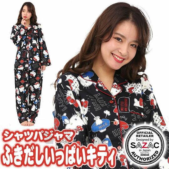 〔小禮堂〕Hello Kitty 長袖居家服套裝《黑.襯衫.灰框.愛心蘋果.對話》100%純棉