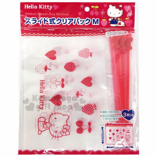 〔小禮堂〕Hello Kitty 透明夾鏈袋《M.3入.透明.紅.側坐.蝴蝶結》銅板小物