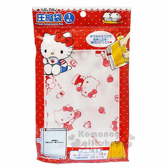 〔小禮堂〕Hello Kitty 衣物壓縮袋《白紅.側坐.喝咖啡.蘋果.32.5x37cm》銅板小物