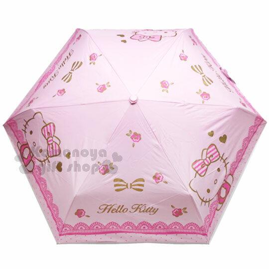 〔小禮堂〕Hello Kitty 折疊雨陽自動傘《粉.點點.玫瑰.蕾絲》折傘.自動傘