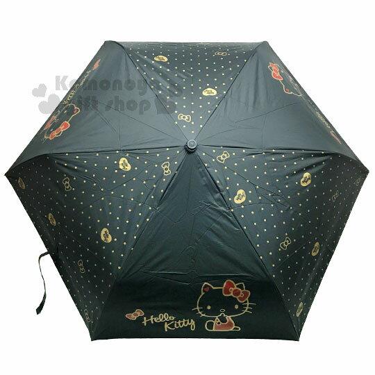 〔小禮堂〕Hello Kitty 折疊雨陽自動傘《黑.咖.側坐.蝴蝶結.愛心》折傘.自動傘