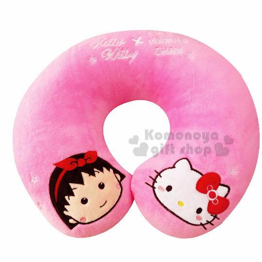 〔小禮堂〕Hello Kitty x 櫻桃小丸子 U型護頸枕 《粉.螢光.大臉》旅行.汽車室內兼用